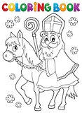 Coloring book Sinterklaas on horse