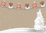 Christmas Background with Clothespin Decoration