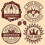Rero beer shop logo, emblems and badges vector set.