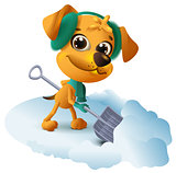 Yellow dog cleans snow with shovel