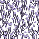 Floral seamless pattern. Hand drawn creative flowers or trees. Colorful artistic background. Abstract herb