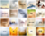 BIG set of 20 square blurred nature white backgrounds. With various quotes