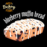 Blueberry muffin bread vector. Baked bread product.