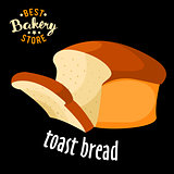 Baked Toast bread vector. Baked bread product.