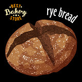 Baked rye bread vector. Baked bread product.