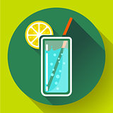 glass of water with lemon icon flat 2.0 design style long shadow