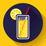 glass of juice with lemon icon flat 2.0 design style long shadow