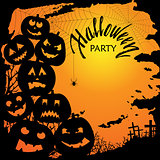 Halloween party invitation with scary pumpkins. Funny and evil pumpkins for halloween design