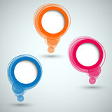 Collection of colorful abstract round speech bubbles template
