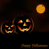 Halloween night poster with grinning pumpkins template