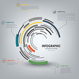 Info graphic with abstract technical design round template