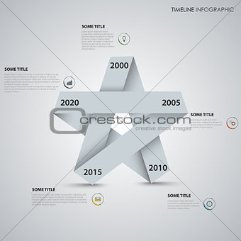 Time line info graphic with folded paper star template