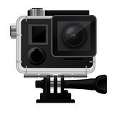 Action camera in waterproof case - sport cam icon