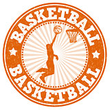 Basketball grunge rubber stamp