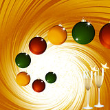 Christmas baubles and champagne on golden vortex