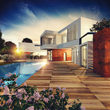 Luxury villa project. 3D rendering