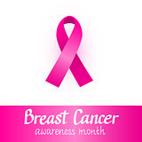 Pink ribbon. Breast cancer awareness month. October design