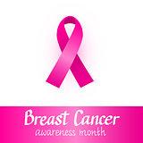Pink ribbon. Breast cancer awareness month. October design