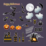 Halloween stickers. Vector set. Pumpkin, witch, moon, cat, ghost