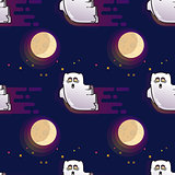 Ghost seamless pattern. Cute cartoon fluing ghost and Moon.