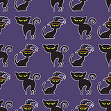 Halloween black cat seamless pattern.
