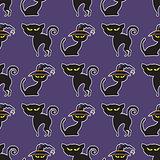 Halloween black cat seamless pattern.
