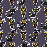 Halloween black cat and owl seamless pattern.