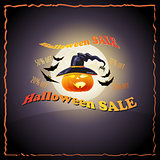 Full Moon, pumpkin, hat, bat and words Halloween Sale.