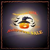 Full Moon, pumpkin, hat, bat and words Halloween Sale.