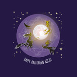 Halloween card with  Moon, witch, owl, bat, cat.