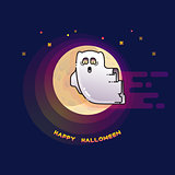 Happy Halloween card with funny flying ghost and Moon.