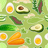 Vegetables seamless pattern. Carrot, cucumber, avocado, egg.