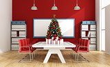 Board room with christmas tree