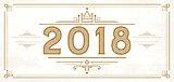 Retro 2018 Numbers. New Year Logo.