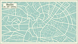 Berlin Germany Map in Retro Style.
