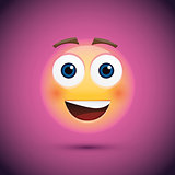 Happy emoji smiley on purple background.