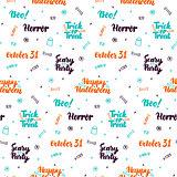 Halloween Lettering Seamless Pattern