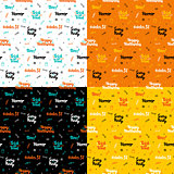 Halloween Lettering Seamless Patterns