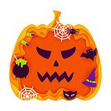 Halloween Pumpkin Papercut Concept