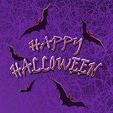 Bats on the spidernet violet background.