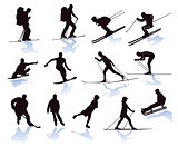 Winter sports, skier, snowboarder, skiing