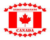Flag of Canada and maple leaves