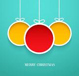 Hanging Christmas balls.