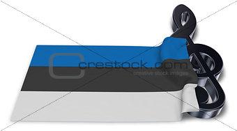 clef symbol and estonian flag - 3d rendering