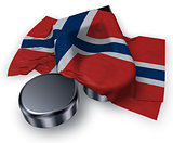 music note symbol and flag of norway - 3d rendering