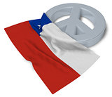 peace symbol and flag of chile - 3d rendering