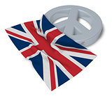 peace symbol and flag of the uk - 3d rendering