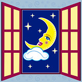 window with moon