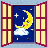 window with moon