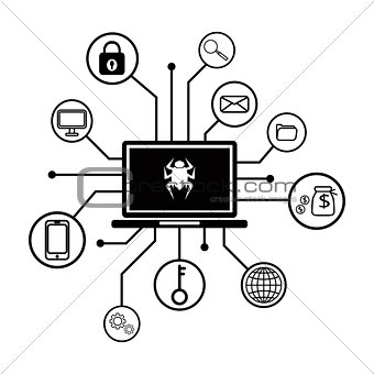 Business data has been encrypted. malware attack, virus encrypted lock file ransom malware name is wanna cry vector illustration.